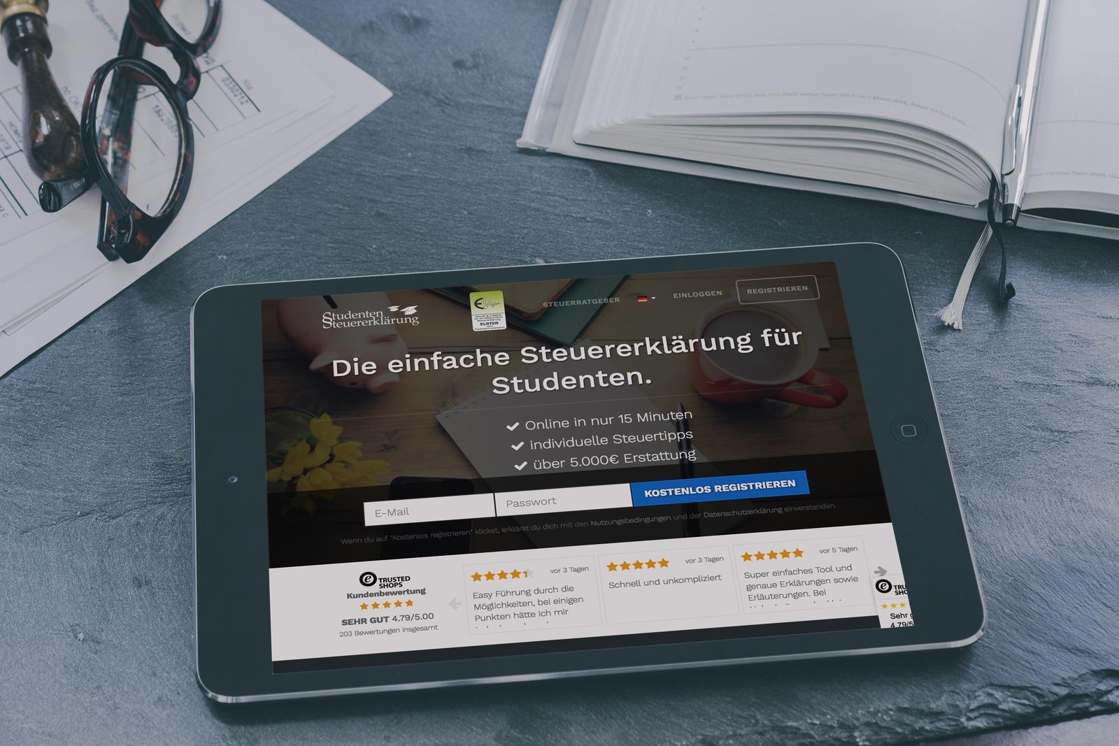 iPad mit der Website von studentensteuererklärung.de